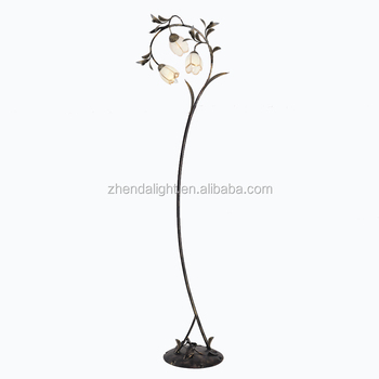 Decorative Home Fancy Flower Wrought Iron Floor Lamp With Ceramic