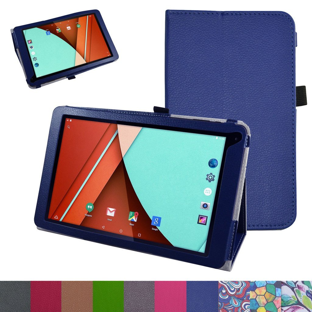 "Fusion5 104A GPS Case,Mama Mouth PU Leather Folio Stand Cover for 10.1"" Fusion5 104A GPS Android 5.1 Tablet PC,Dark Blue"