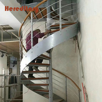 Duplex Wood Stair Treads Stainless Steel Spindle Spiral Stairs Philippines