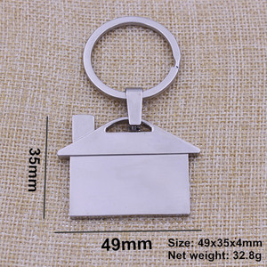 Polished Metal Keychain House Shaped with your logo engraved on the Houses Keychain from Quality Logo Keychain House
