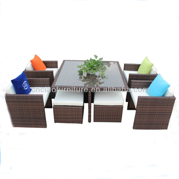 Tavolo Cubo Da Giardino.Giardino Esterno Mobili Cubo Rattan Terrazza Set Tavolo Da Pranzo