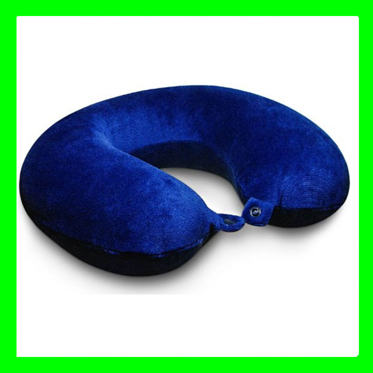 Travel Pillow Memory Foam Neck Support for Comfort Rest Plush Astral Blue Velour Washable Cover Rest Airplane Pillow