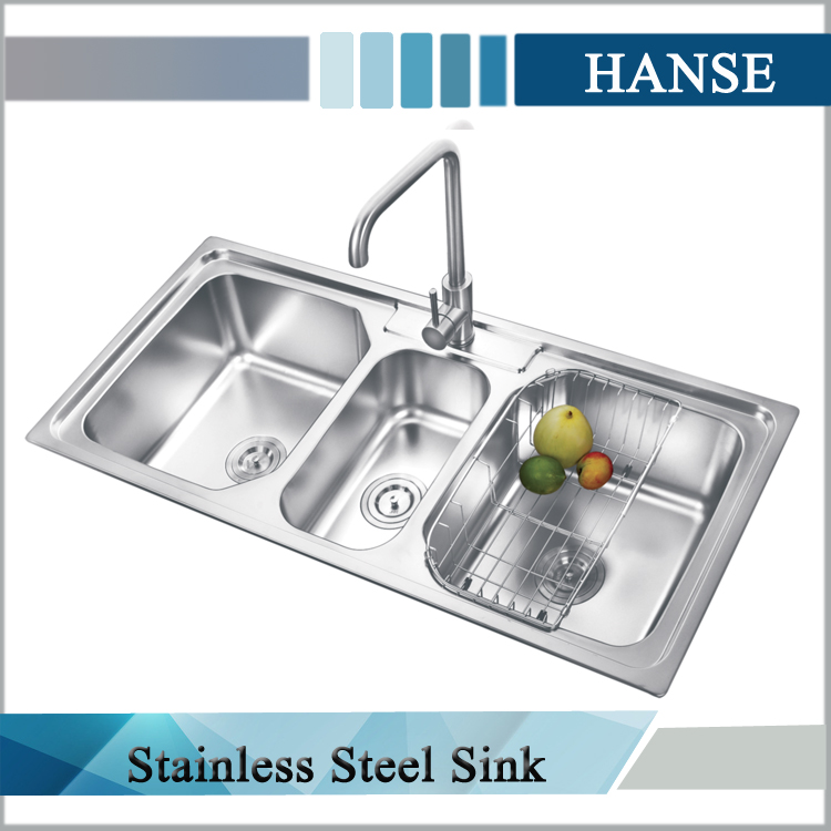 Three Compartment Kitchen Sink Sanitary Drain Size
