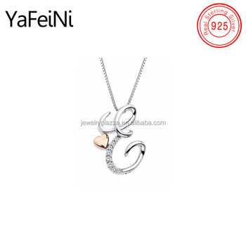 5030e1ca15ba3d Simple design two tone solid heart initial letter diamond pendant necklace  for wedding engagement girl
