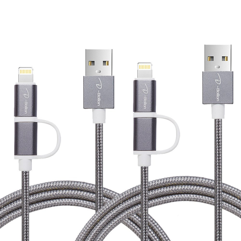 [2 PACK] I-Bollon 3ft 2 in 1 Lighting and Micro USB Cable Nylon Braid charging cable cord for iPhone7/7 PLUS/6/6 Plus/ 5S/ 5C/5, iPad Mini, Samsung, HTC, Nexus, Nokia, Sony, Android Devices(Grey)