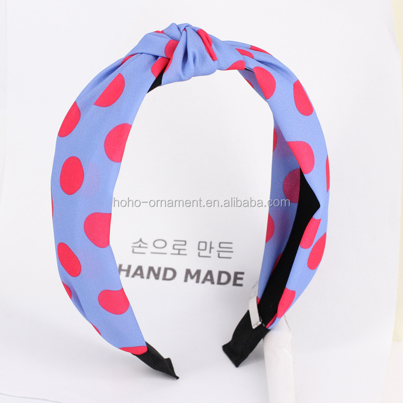 HO HO  2019  Korean restore ancient ways sweet wave dot is wide the dot of cloth of qualitative bud silk fabric headband