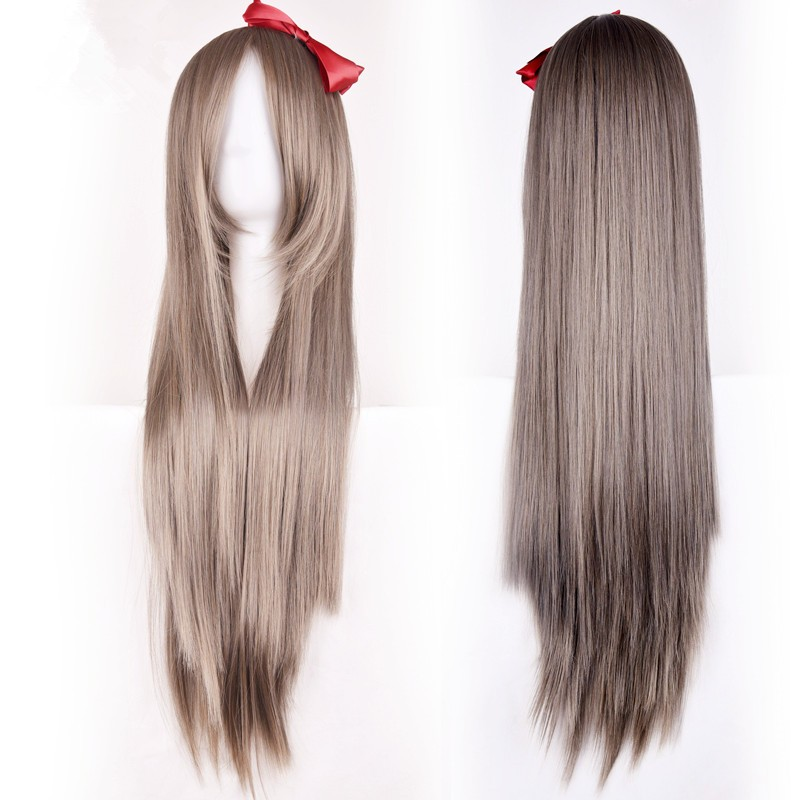 Cheap Wigs Silver Brown Blue Long Straight Cosplay Ombre