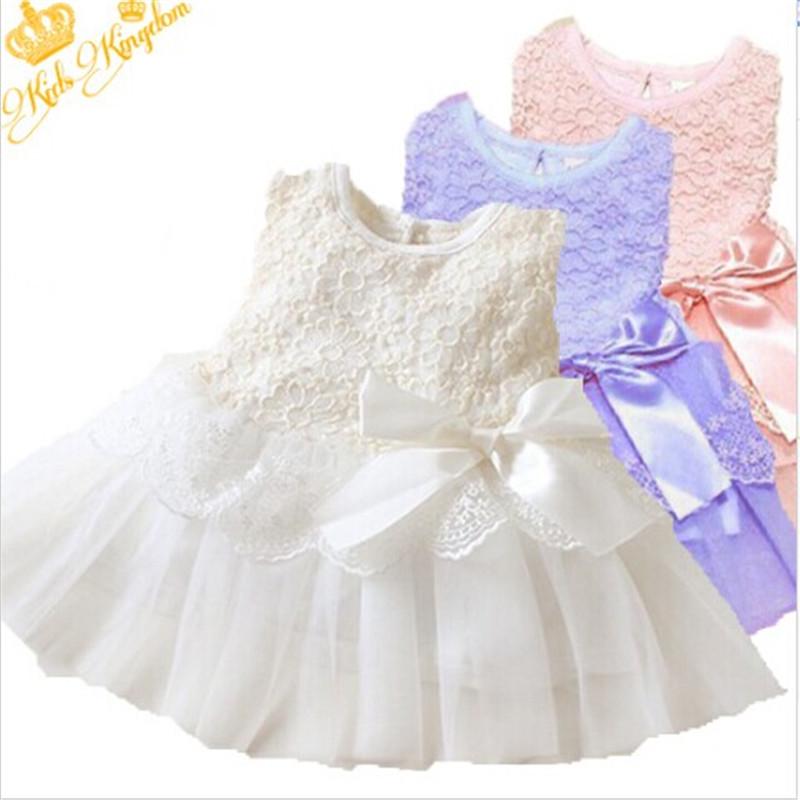 2016 Brand New Hot Stylish Baby Kids Girls Princess Formal Party Tutu Lace Bowknot Flower Dress