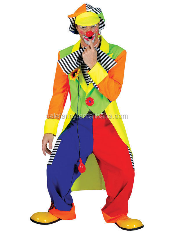 Adult La Circus Clown Costume Mens Fancy Dress Outfit Male Carnival Stag New