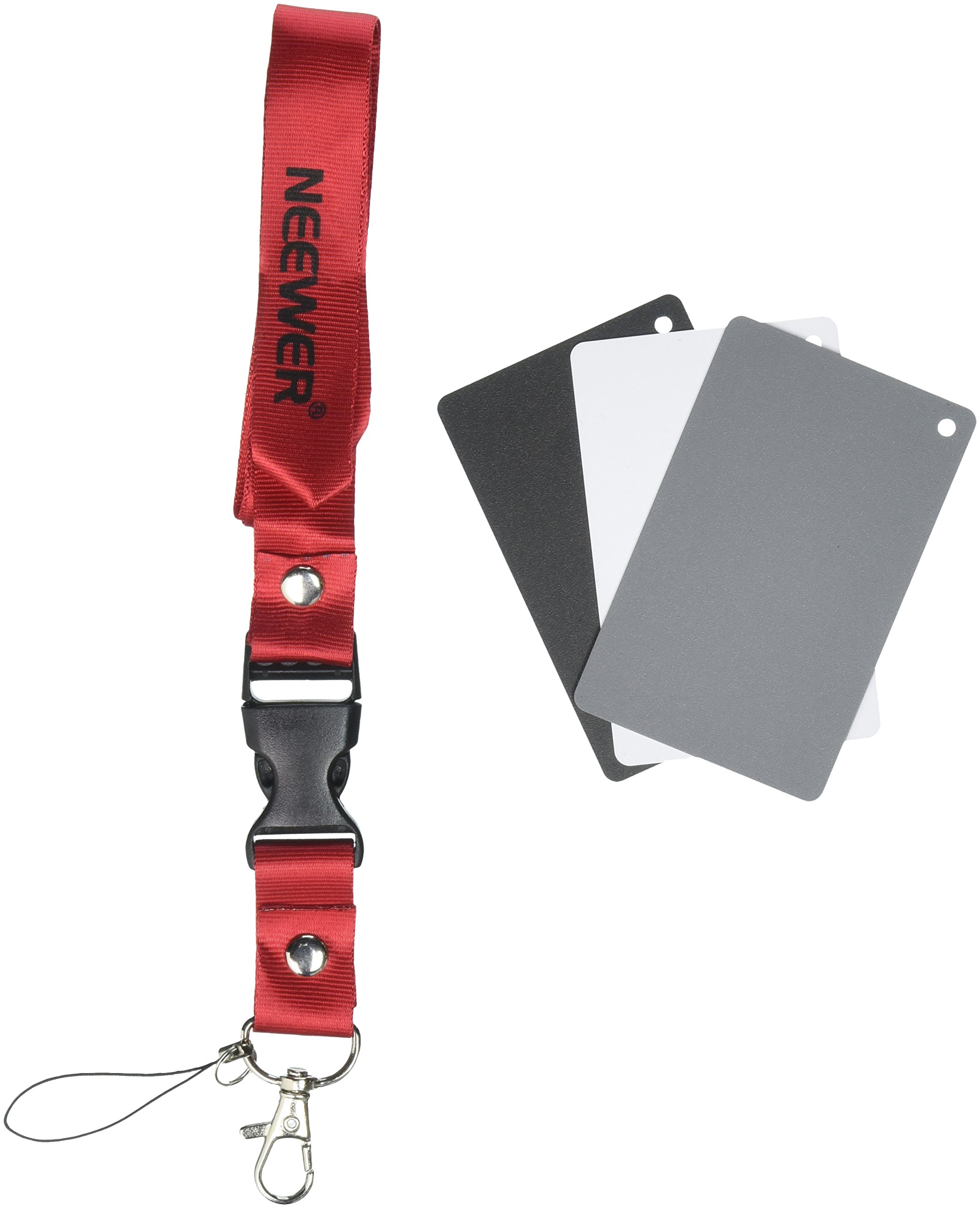"Neewer Digital Grey Card Set - 2"" x 3"" White Balance Card 18% Gray Card for Digital and Film Photography with Premium Lanyard (2"" x 3"")"