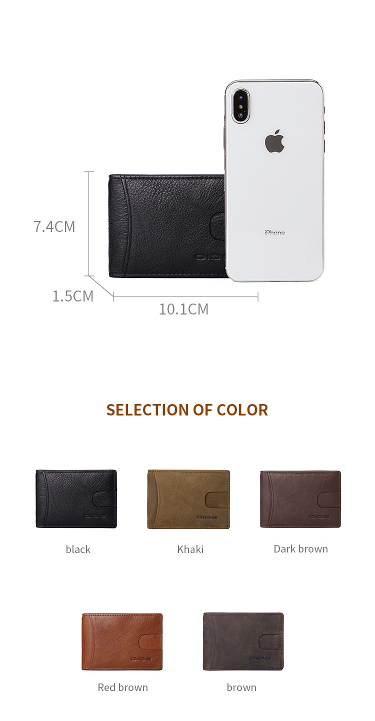 DIDE Genuine Cowhide Leather Card Holder Money Clip RFID Blocking Wallet for Men