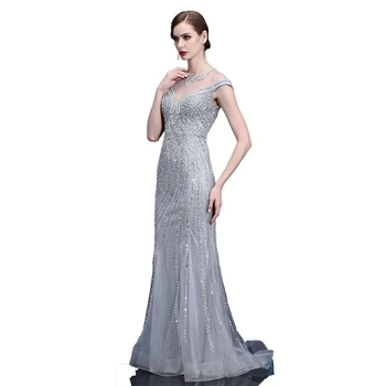 64fddf3e5 New Designs Short Sleeve See Through Frock Party Dress Shining Heavy Beaded  Tulle Mermaid Maxi Sexy