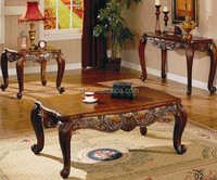 Cheap high quality hand carved antique solid wooden tables (EFS-002)