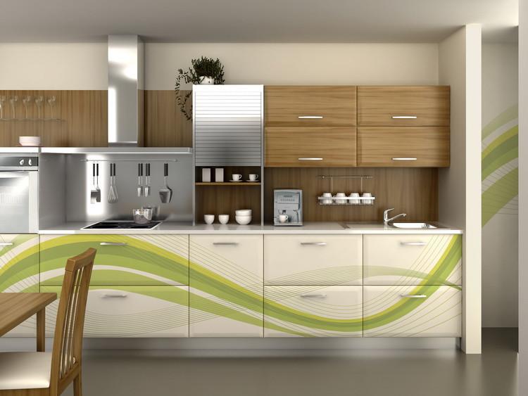 Bauformat Modern grey & distressed wood wall-mounted kitchen ...