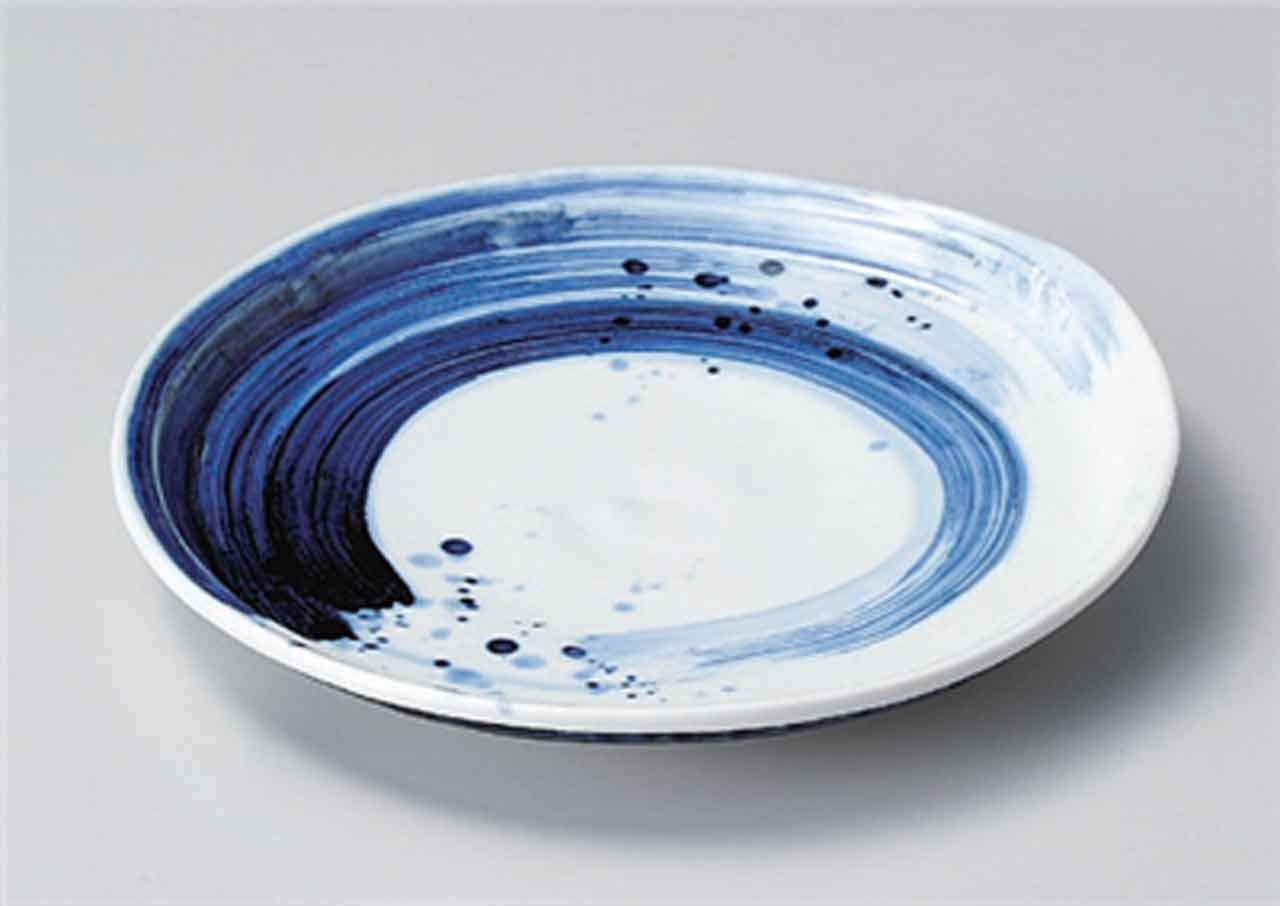 Gosu-Blue Brush 9.8inch Set of 2 Large Plates White porcelain Made in Japan