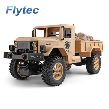 Flytec 124301 2.4Ghz 1/12 4WD Off-Road RC Military Truck Vehicle RC Car Remote Control Car RTR Yellow