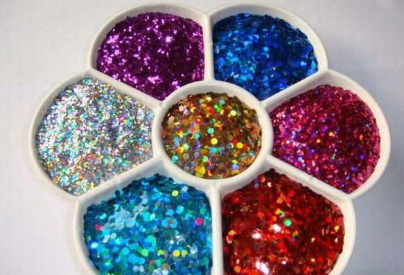 2015 good quality hexagon silver glitter