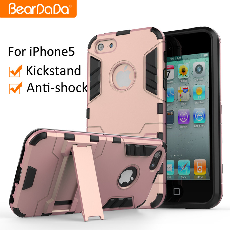 Best Praise Anti shock kickstand TPU PC cover case for iphone 5