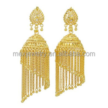 18k Gold Indian Bollywood Jhumka Earring Set Traditional Jewellery