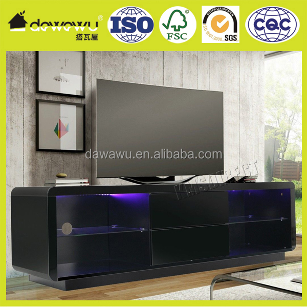 Modern High Gloss Matt wooden tv cabinet designs Unit Stand black RGB LED Light Home Furniture 160cm
