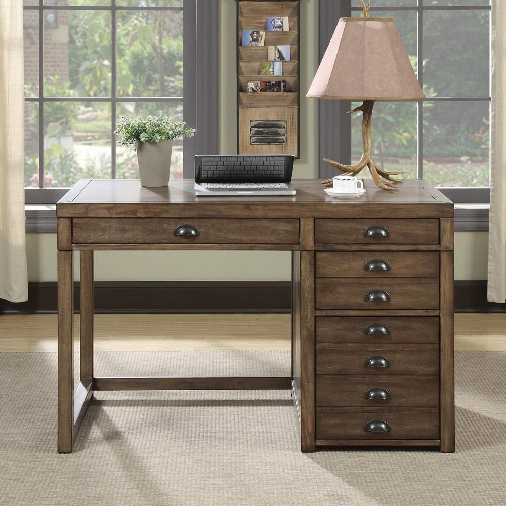 1PerfectChoice Vintage Home Office Writing Computer Pedestal Desk File Drawers Weathered Taupe