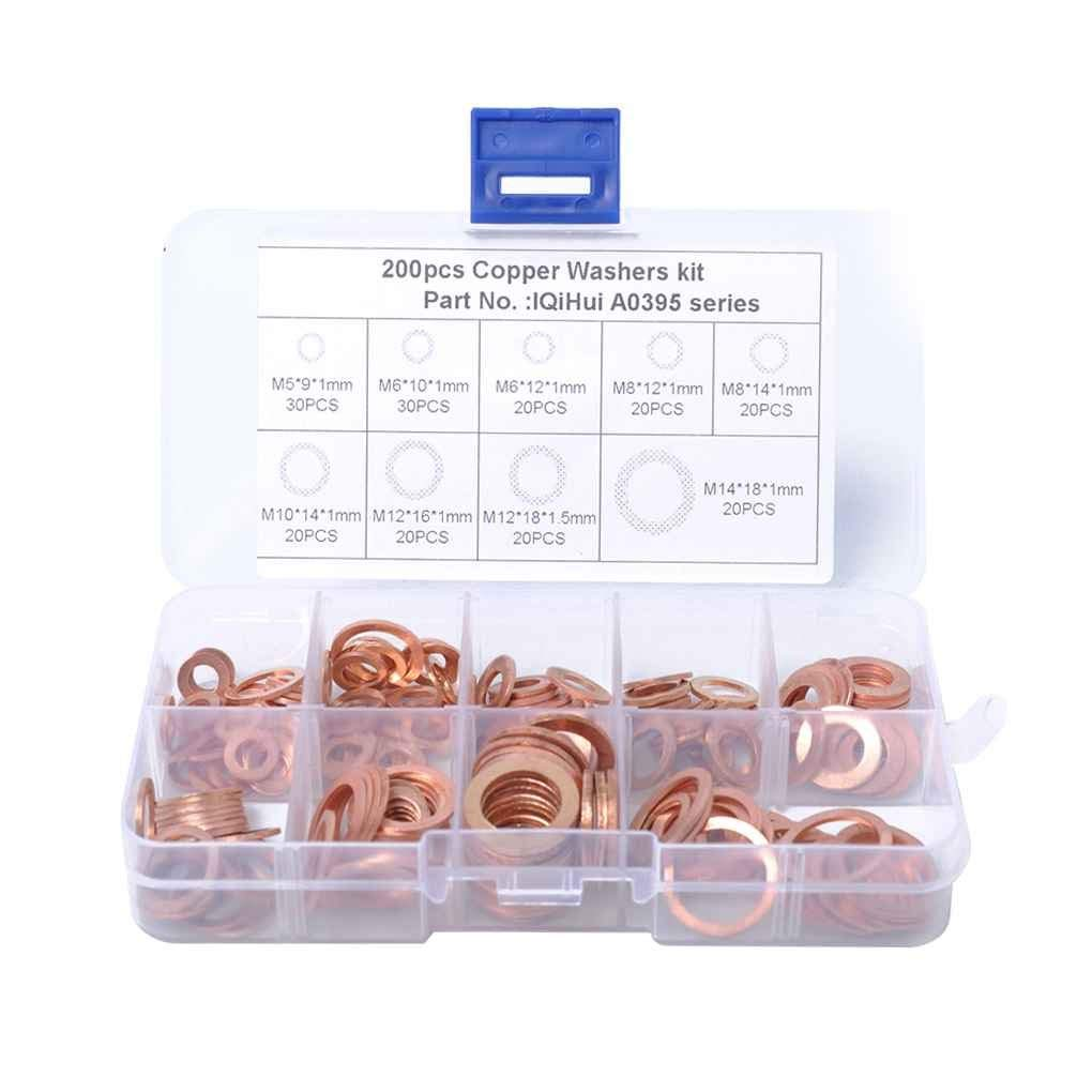 M5-M14 W-200 Hosim 200Pcs 9 Sizes Copper Washers Flat Lock Washers Metric Sealing Gasket Assortment Set