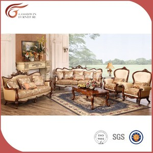 Classic curved wood fabric sofa GAS024
