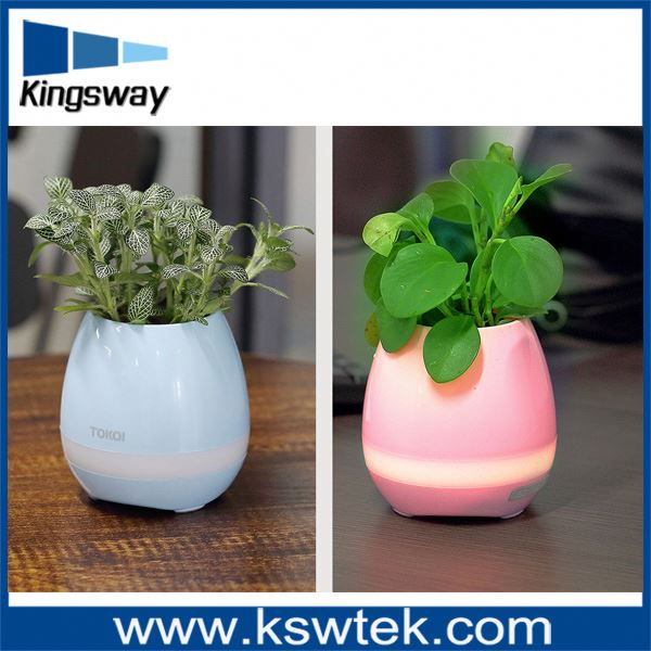 2017 Creative sing flower pot Led sing bluetooth speaker for Home Office Decor Planter Plant
