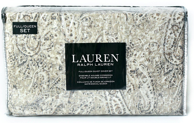 Ralph Lauren Paloma Paisley Taupe Blue 3pc Full Queen Duvet Cover Set Floral Paisley Ivory Beige Tan Blue