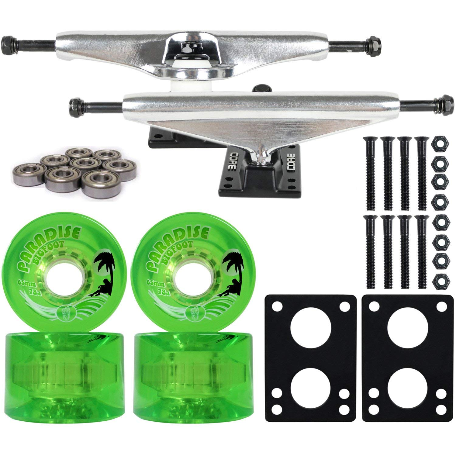 "Longboard Skateboard Trucks Combo Set 65mm Bigfoot Islanders Wheels with Silver Trucks, Bearings, and Hardware Package (65mm Green Wheels, 6.0 (8.63"") Silver Trucks)"