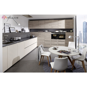 Modern kitchen design furniture with nice nature wood color cabinet door