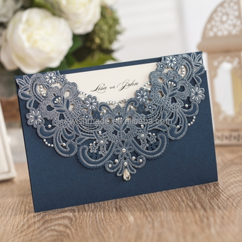 WISHMADE Personalized Navy Blue Laser Cut Wedding Invitation Card AW7513