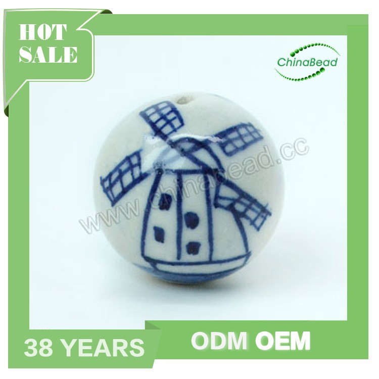 Popular hand painted ceramic Holland beads, Windmill design Blue and white porcelain beads