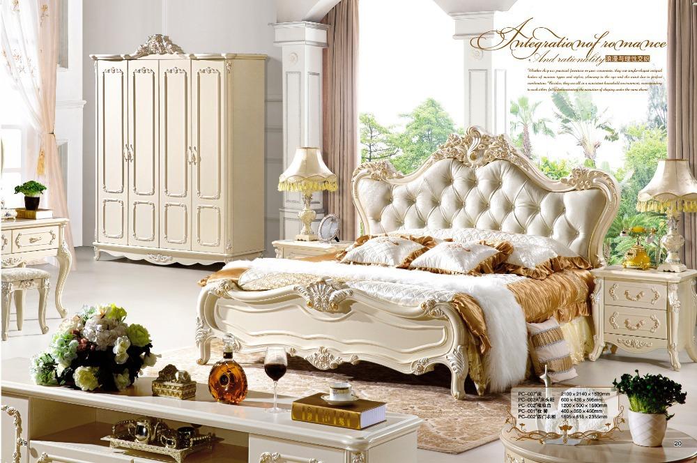 Antique Style French Furniture Elegant Bedroom Sets PC 006