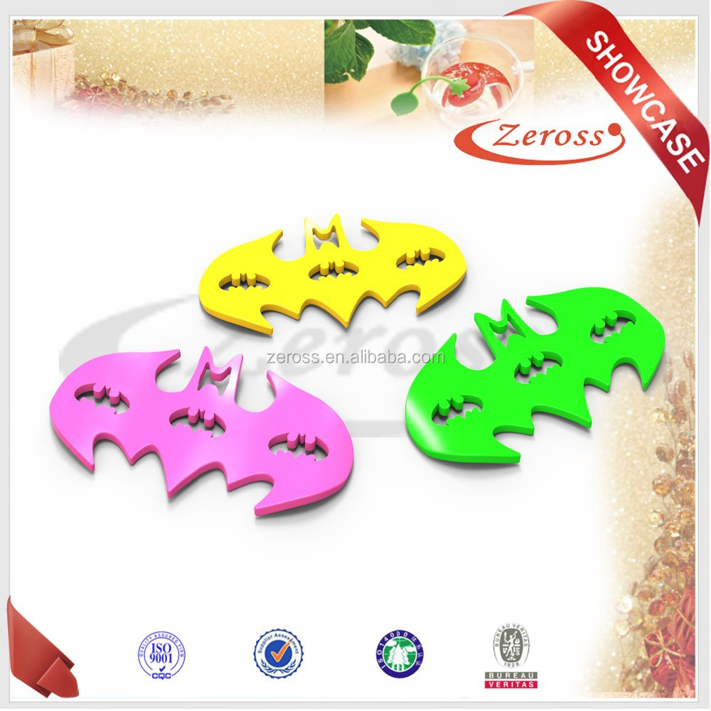 hight quality customized durable waterproof Batman shape silicone cup coaster
