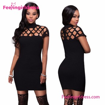 8f35525fd7 Women Hot Night Dress High Neck Hollow out Short Sleeves Sexy Bandage  Bodycon Dress 2018