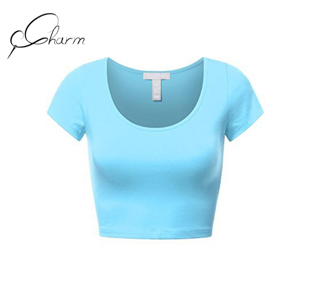 Corto mujeres básica de manga Scoop Neck Crop Top