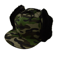 custom blue desert pink camo baseball cap with ear flaps