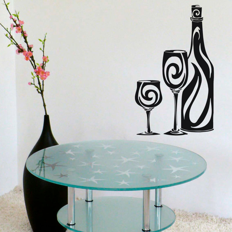 Abstract Wine Bottle Glasses Wall Decals Creative Home Decor Wall Stickers Vinyl Art Adhesive Wallpaper