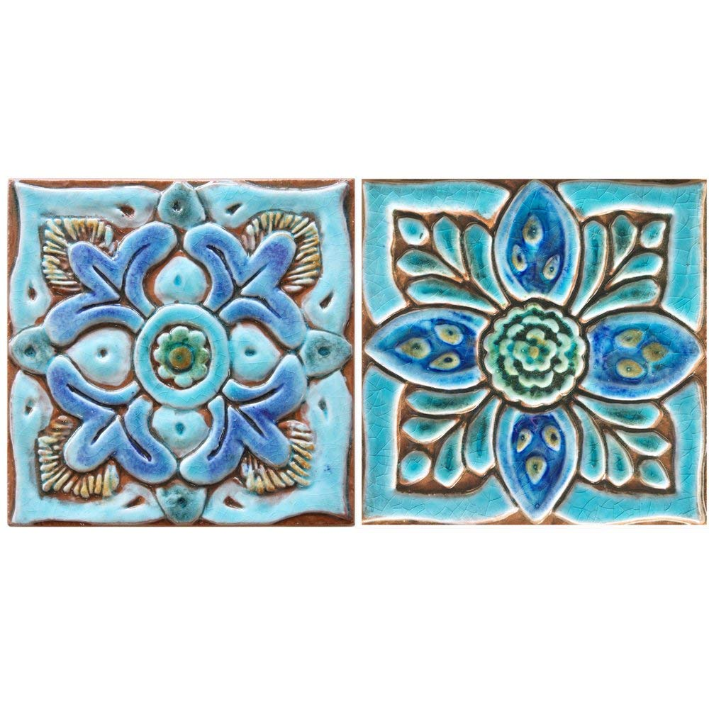 "2 Outdoor Wall Decor Tiles 5.9"" by G.Vega Ceramica, wall art tile in blues and greens, perfect ceramic wall tiles for kitchens, bathrooms and outdoor wall decor, SUZANI DECO"