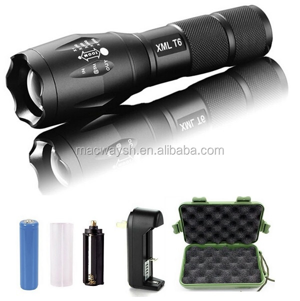 1000 Lumens XM-L T6 LED Zoom Waterproof Tactical Rechargeable Flashlight Lamp Light with 18650 Battery