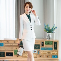 New Fashion Women casual Suit fashion white collar business office slim fit suit career Uniform For Lady Elegant style
