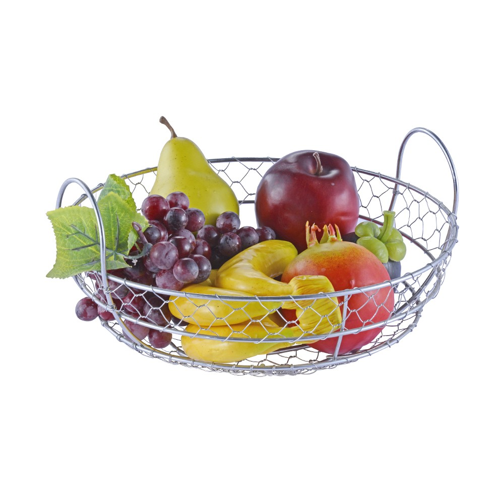 Round Shape Kitchen Storage Decorative Vintage Metal Fruit Basket
