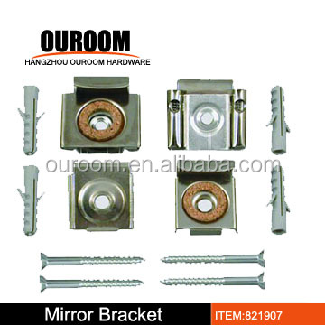 Mirror wall hanging fixing kit metal spring loaded clips for Mirror hanging kit