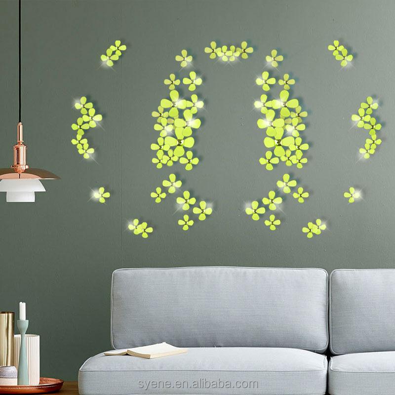 Syene12 pcs 3d fleur d coration murale miroir acrylique - Decoration stickers muraux adhesif ...