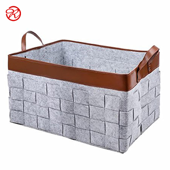 Large Felt Storage Basket Bag With Handles Soft Toy Box Nursery Bins For Organizer Magazine