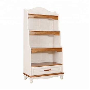 Simple Designed Hot Sale Solid Pine Wood Room Decoration 4 Tiers Durable Kids Display Rack Bookshelf
