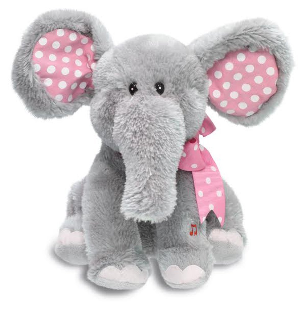 "Cuddle Barn Ellie the Elephant Animated Musical Plush Toy, 12"" Super Soft Cuddly Stuffed Animal Moves Head and Flaps Ears to the Classic Tune ""Do Your Ears Hang Low""- Gray & Pink"