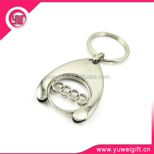 High quality auto logo trolley coin keychain/metal trolley token coin keyring