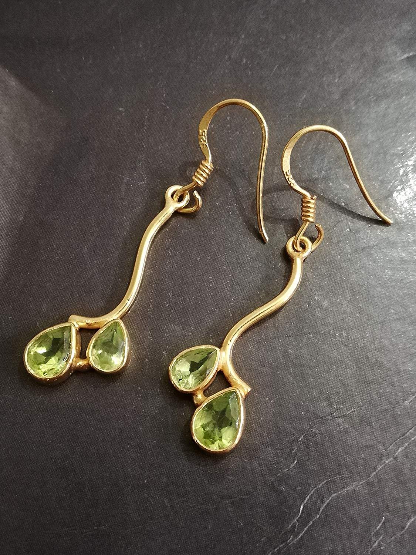 168e942d4 Get Quotations · Peridot Earrings, 925 Sterling Silver, Gold Plated Earrings,  Teardrop Earrings, Pride Earrings